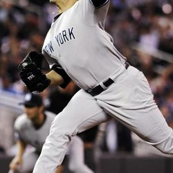 New York Yankees pitcher Andy Pettitte throws against the Minnesota Twins in the first inning of a baseball game, Monday, Sept. 24, 2012, in Minneapolis.