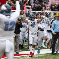 Sky View's Brigham Lewis (6) celebrates a Bobcat touchdown during the 4A state championship football game between Sky View and Park City at Rice-Eccles Stadium in Salt Lake City on Friday, Nov. 22, 2019.