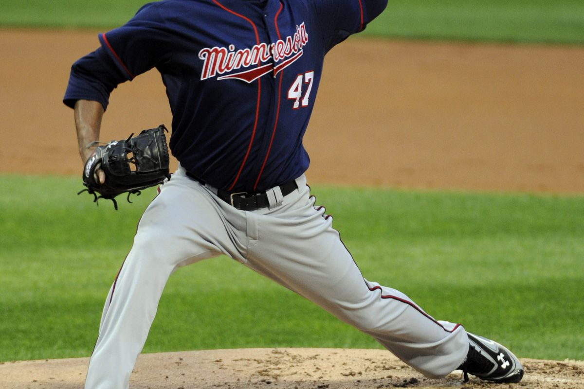 CHICAGO, IL - JULY 23: Francisco Liriano #47 of the Minnesota Twins pitches against the Chicago White Sox in the first inning on July 23, 2012 at U.S. Cellular Field in Chicago, Illinois.  (Photo by David Banks/Getty Images)