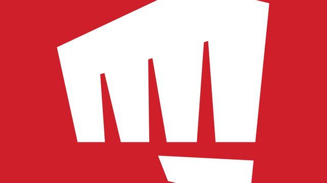 """A closeup of the Riot Games logo """"fist"""""""