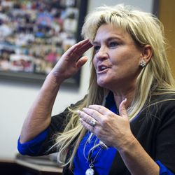 Lone Peak High School Principal Rhonda Bromley speaks in her office Dec. 6 about the emotions she experienced when she received the call about a suicide committed by one of her students.