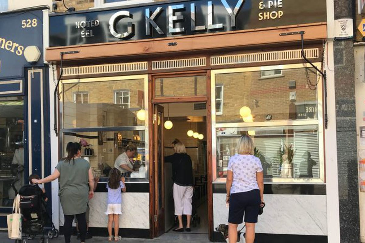 G. Kelly pie and mash shop is back open after a closure for two years on Roman Road in the East End of London