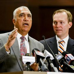 Salt Lake County District Attorney Sim Gill speaks during a meeting with the press at Salt Lake County Government Center in Salt Lake City on Monday, May 1, 2017.