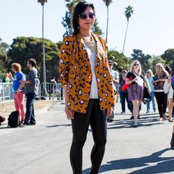 Felicia Wu; Why we love her look: She has made the Lim x Target animal print jacket her own.