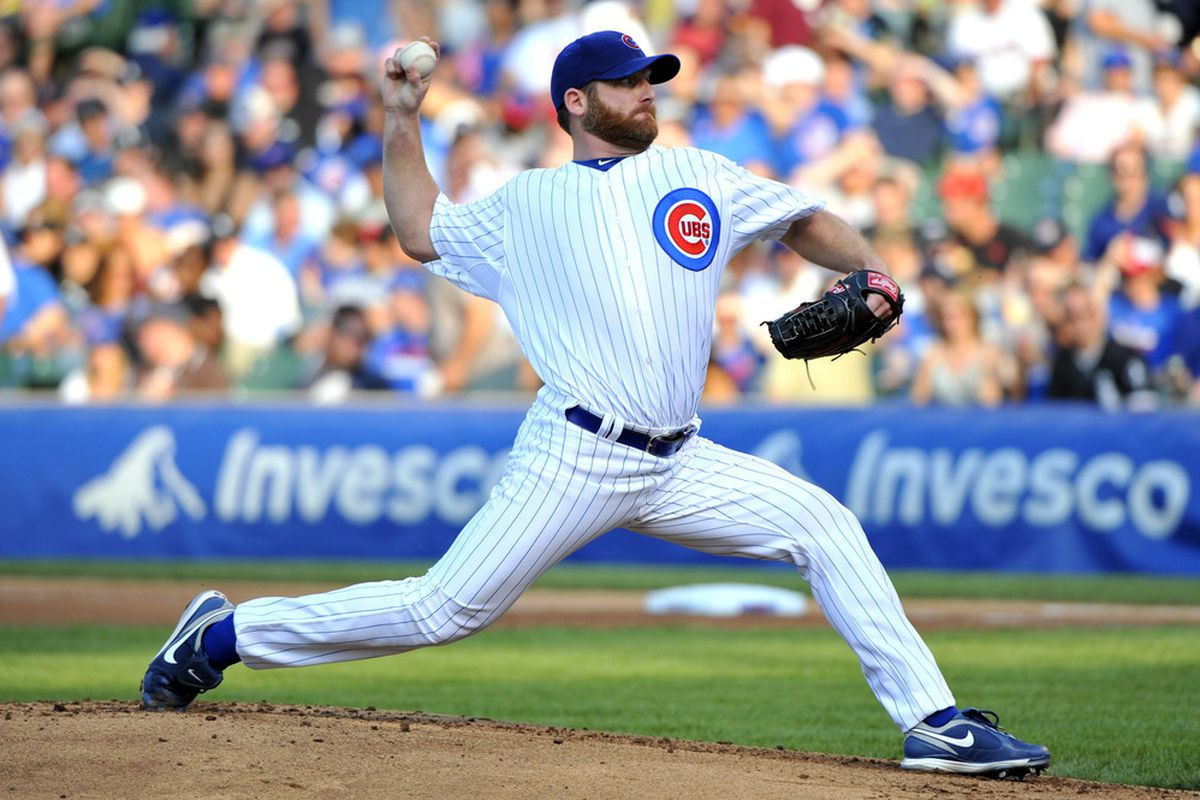 May 19, 2012; Chicago, IL, USA; Chicago Cubs starting pitcher Ryan Dempster (46) delivers a pitch against the Chicago White Sox during the first inning at Wrigley Field.  Mandatory Credit: Rob Grabowski-US PRESSWIRE