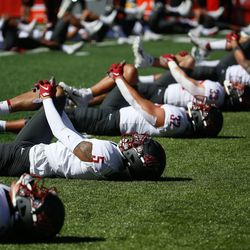 Washington State warms-up before they compete against Utah during an NCAA college football game at Rice-Eccles Stadium on Saturday, Sept. 25, 2021 in Salt Lake City.