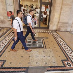 Elders Samuel Nagliati and Cole Draper, missionaries for The Church of Jesus Christ of Latter-day Saints, walk as they make contacts in Bologna, Italy, on Thursday, Sept. 16, 2021.