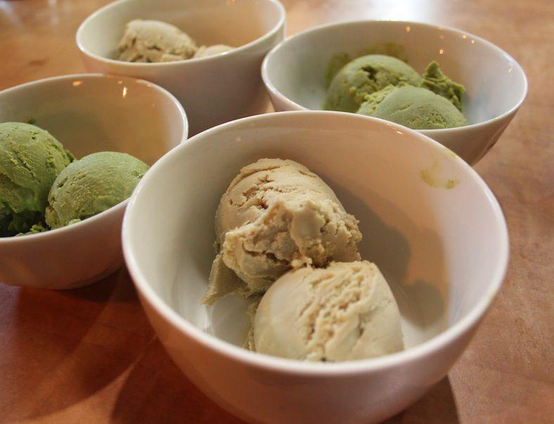 Hoji and matcha ice cream