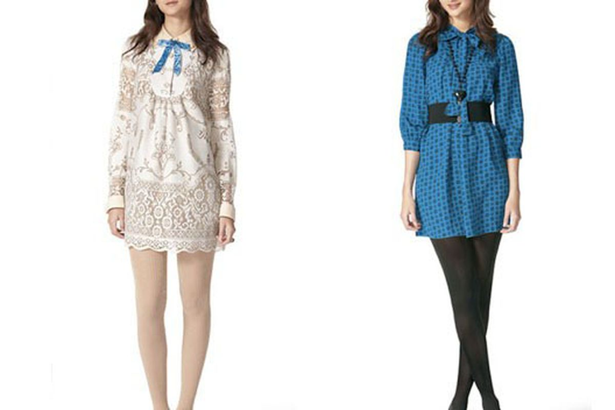 Two Blair looks from the collection, both appropriate for any rumormongering occasion