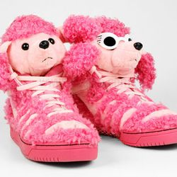"Jeremy Scott x Adidas <a href=""http://www.ubiqlife.com/ProductDetail.aspx?ID=10812"">Poodle Sneakers</a>, $200 at Ubiq"