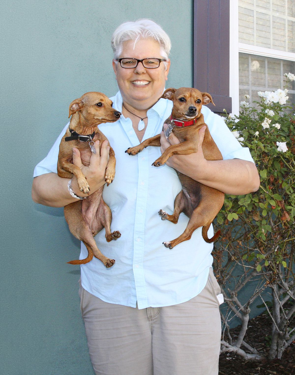 Lori Spiak And Her Two Dogs, Lana And Andy