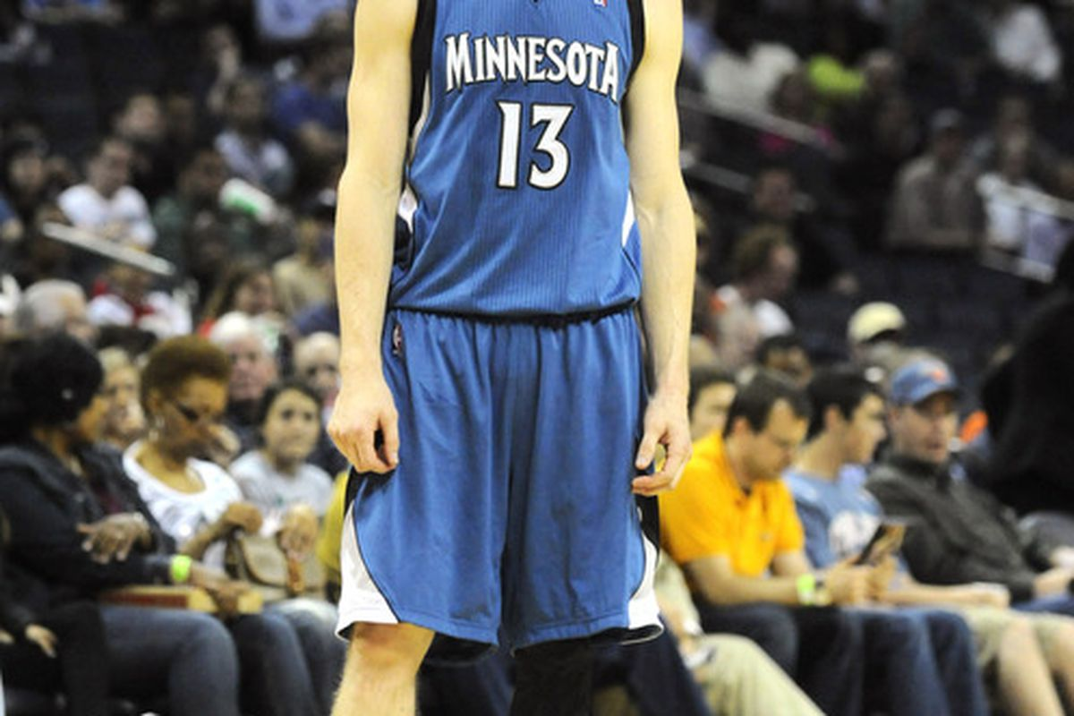 March 28, 2012; Charlotte, NC, USA; Minnesota Timberwolves guard Luke Ridnour (13) during a time out in the game against the Charlotte Bobcats at Time Warner Cable Arena.  Timberwolves win 88-83. Mandatory Credit: Sam Sharpe-US PRESSWIRE