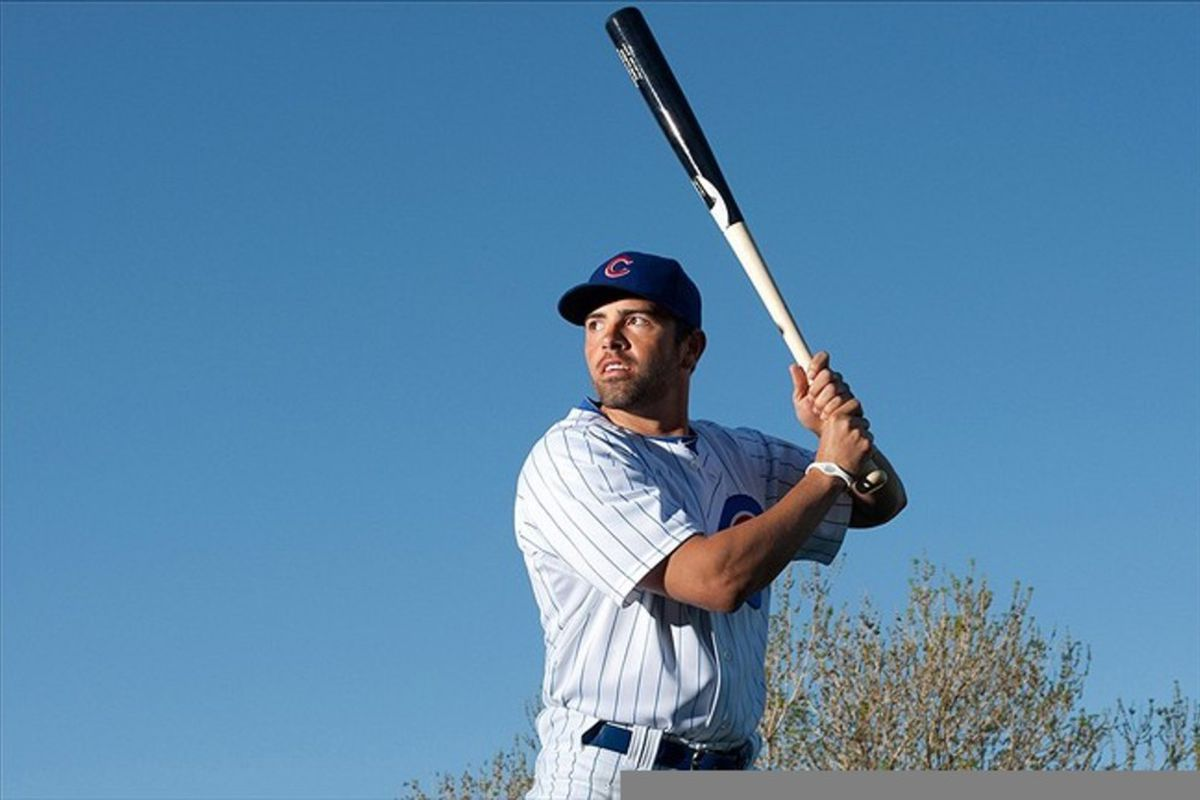 Chicago Cubs right fielder David DeJesus during photo day at HoHoKam Park.  Credit: Jake Roth-US PRESSWIRE