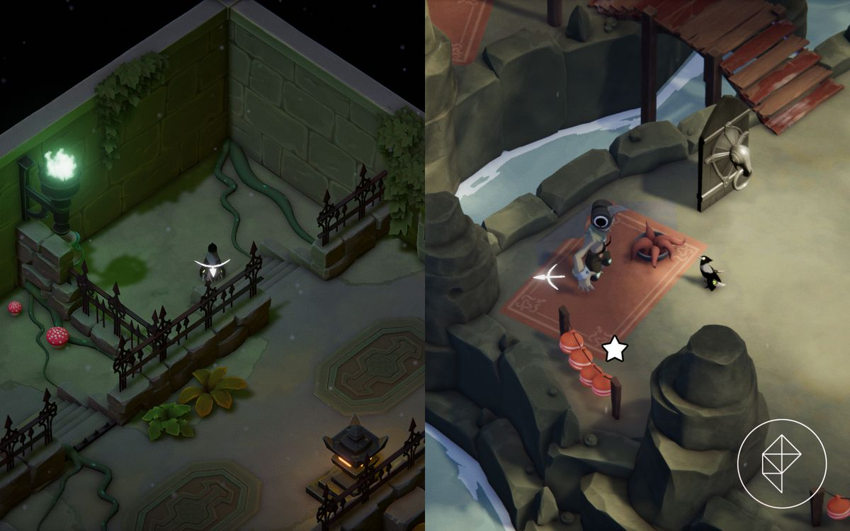 A screenshot showing where to free the grunt from in the Mushroom Dungeon and where to get the Grunt's Old Mask in The Stranded Sailor.