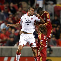 Emiliano Dudar of DC United battles for the ball against Kyle Beckerman (5) and Kwame Watson-Siriboe of Real Salt Lake during their MLS matchup at Rio Tinto Stadium in Sandy Saturday, September 1, 2012