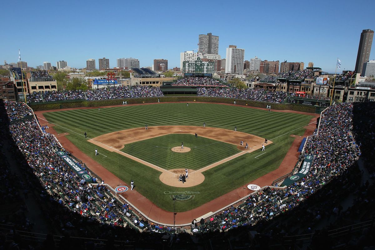 CHICAGO, IL - APRIL 11:  A general view of Wrigley Field as  the Chicago Cubs take on the Milwaukee Brewers on April 11, 2012 in Chicago, Illinois.  (Photo by Jonathan Daniel/Getty Images)