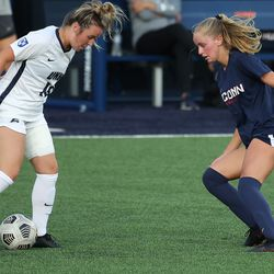 UConn's Chloe Landers #2 during the New Hampshire Wildcats vs the UConn Huskies exhibition women's college soccer game at Morrone Stadium at Rizza Performance Center in Storrs, CT, on Saturday August 14, 2021.