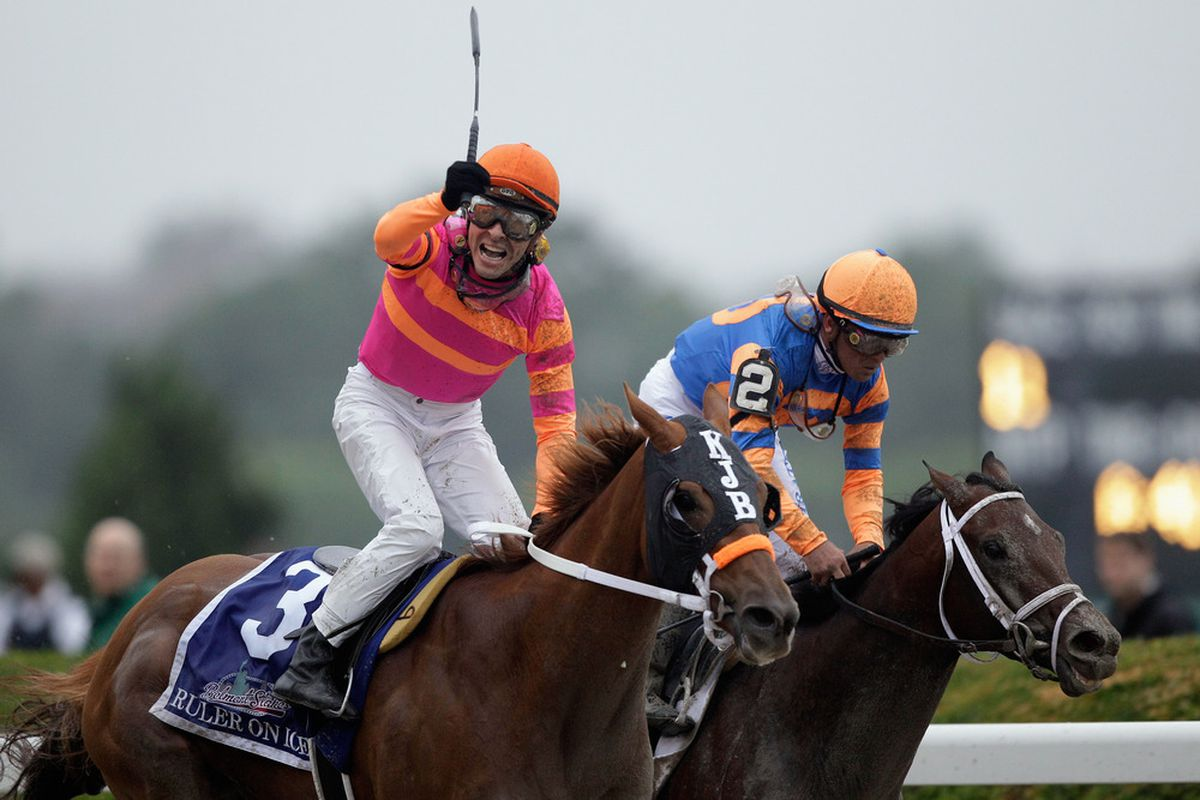 ELMONT, NY - JUNE 11: Jose Valdivia, Jr. rides Ruler On Ice to victory during the 143rd running of the Belmont Stakes at Belmont Park on June 11, 2011 in Elmont, New York.  (Photo by Rob Carr/Getty Images)