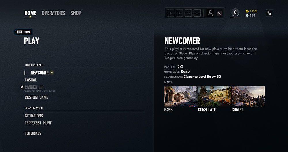 Ubisoft Rainbow Six newcomer playlist UI
