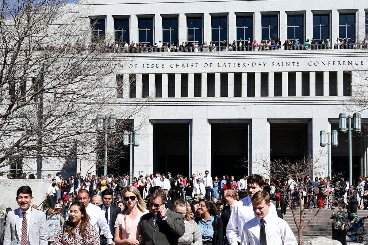 People leave the 187th Annual General Conference of The Church of Jesus Christ of Latter-day Saints in Salt Lake City on Saturday, April 1, 2017.