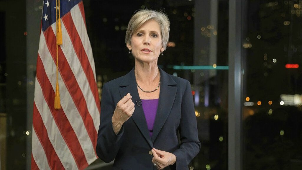 In this image from video, former Acting Attorney General Sally Yates speaks during the second night of the Democratic National Convention on Tuesday, Aug. 18, 2020.