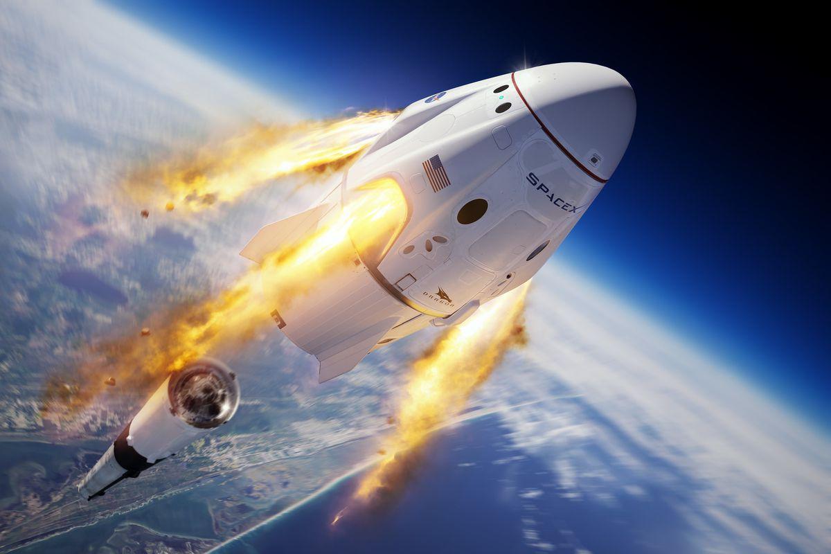 A SpaceX spacecraft recreated in Kerbal Space Program