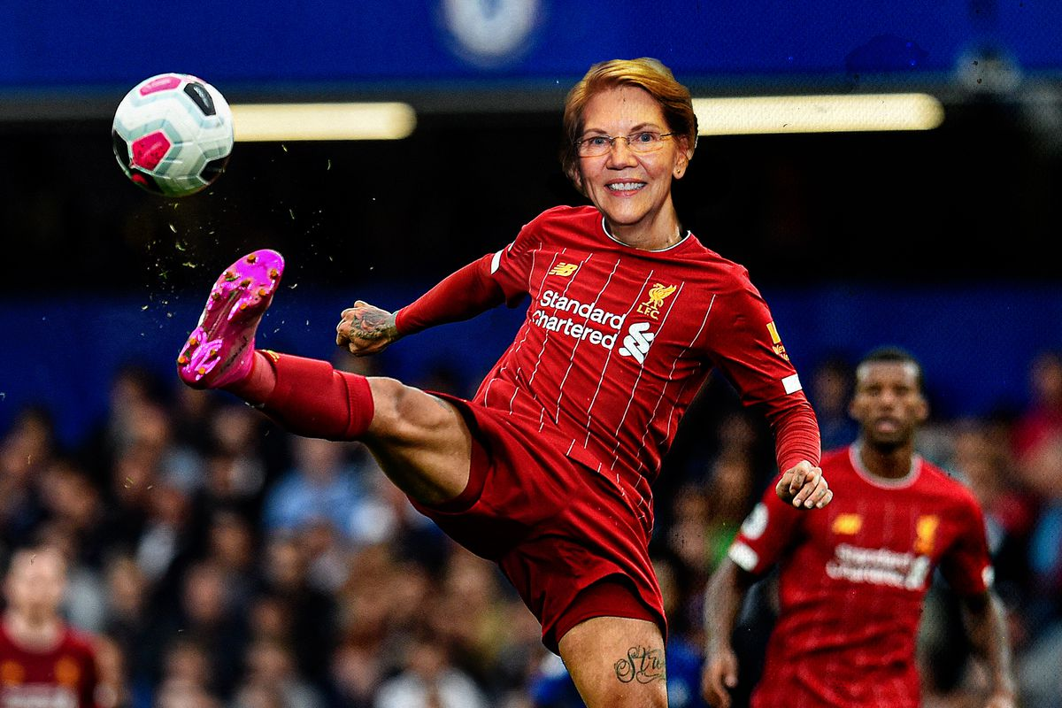 A photo of Liverpool striker Roberto Firmino kicking a ball photoshopped with Elizabeth Warren's head in place of his