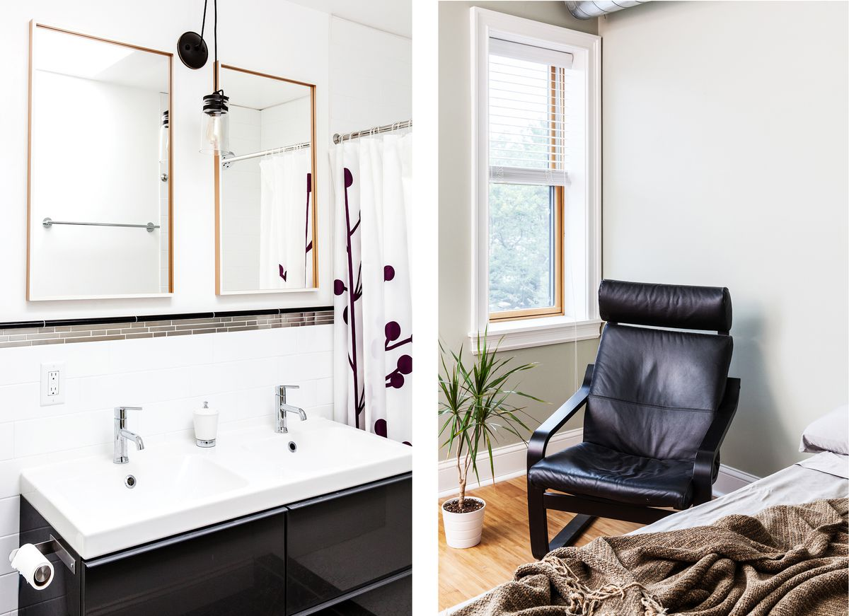 A renovated bathroom and living room in the home of Shea Fredericks.