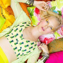 Isla Crop Tank, Mesh Moto Jacket, Silk Circle Skirt, Mixed Bangles