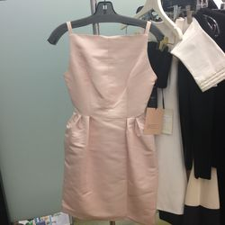 Tailor bow dress in blush, size 6, $200