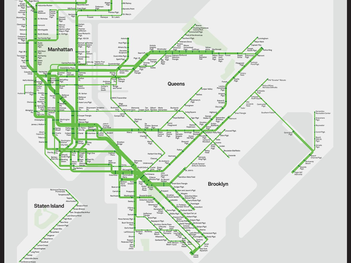 Subway Map Of Park Slope.Nyc S Subway Map Gets A Park Friendly Makeover Curbed Ny