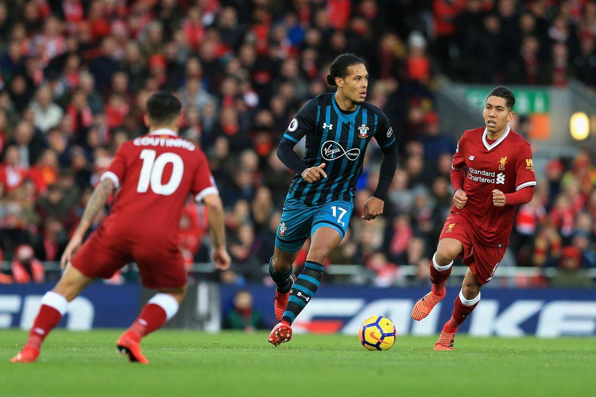 Then-Southampton defender Virgil van Dijk taking on current club Liverpool