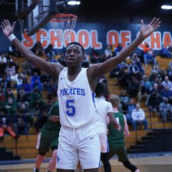 Proviso East's Aaron Skyes (5) applies defense against Lane, Wednesday 02-27-19. Worsom Robinson/For Sun-Times
