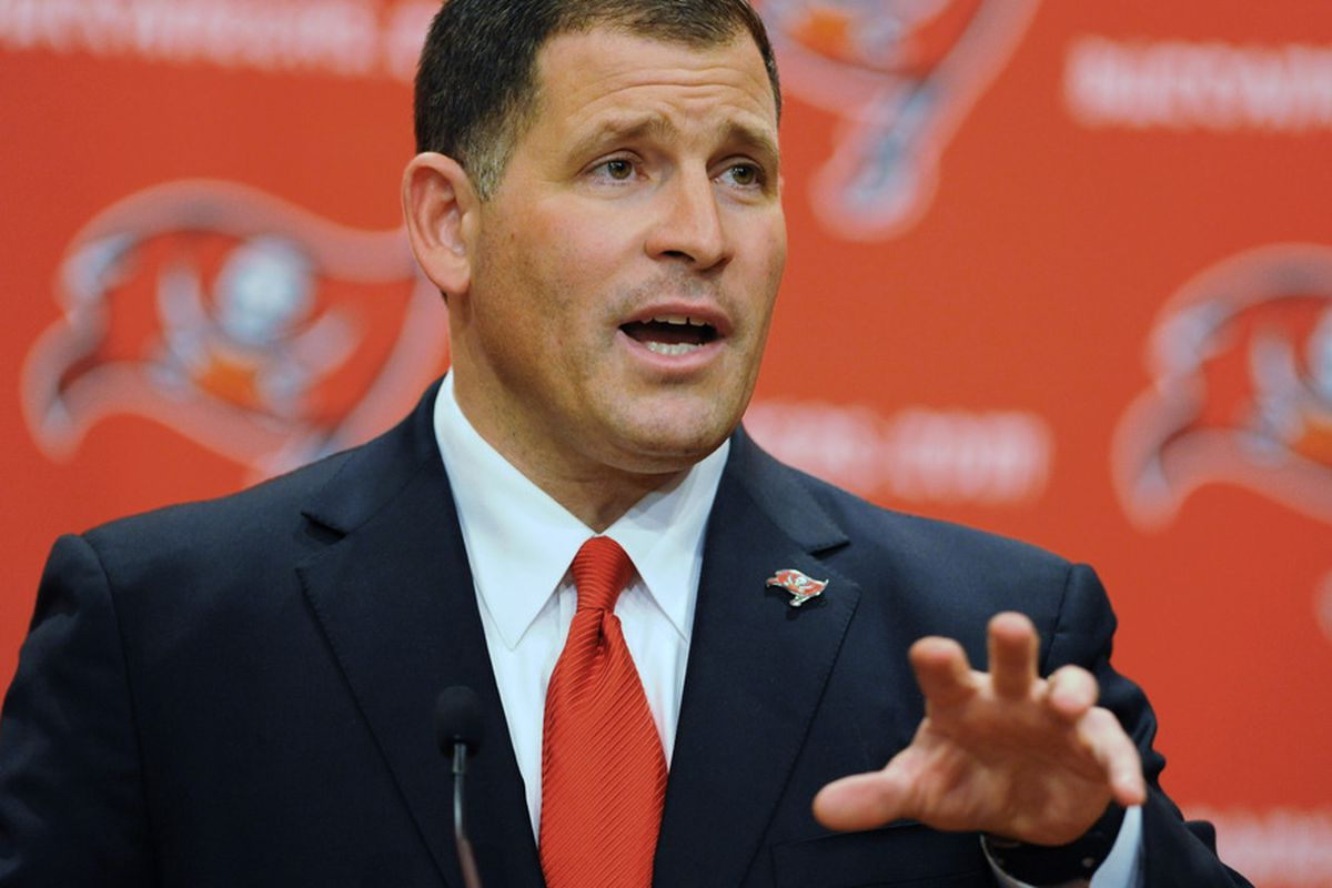 TAMPA, FL - JANUARY 27:  Coach Greg Schiano of the Tampa Bay Buccaneers speaks to the media at an introduction press conference Jat the team training facility anuary 27, 2011 in Tampa, Florida. (Photo by Al Messerschmidt/Getty Images)