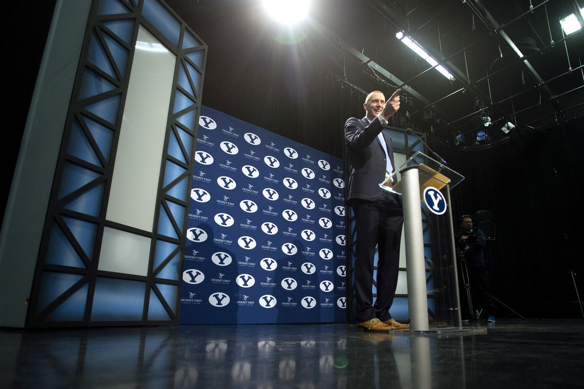 BYU introduces Mark Pope as its new men's basketball head coach at a press conference at the BYU Broadcast Building in Provo on Wednesday, April 10, 2019.