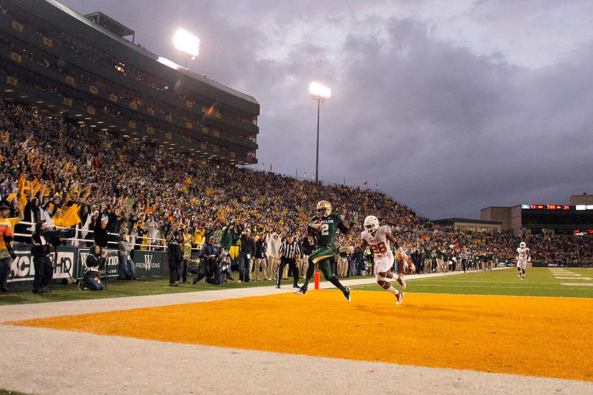 The last time Baylor took the field at Floyd Casey Stadium, they showed the Longhorns that big talk means nothing. (Photo by Sarah Glenn/Getty Images)