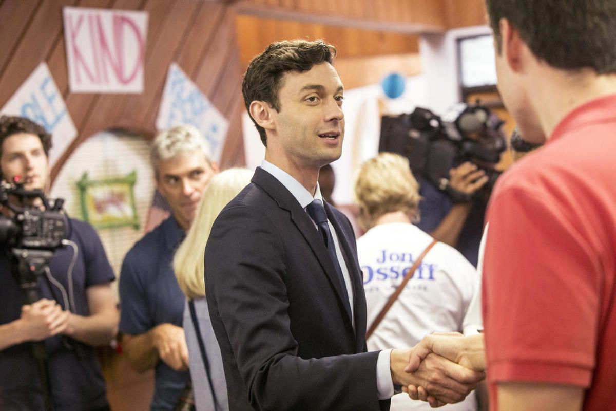 Jon Ossoff, candidate for congress in Georgia's sixth congressional district, meets with his supporters and volunteers at the Sandy Springs Canvass Launch for his final day on the campaign trail. Georgia voters steadily streamed into suburban Atlanta poll