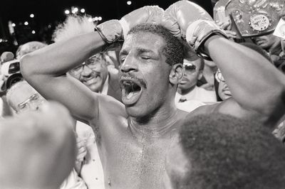 Michael Spinks Yelling After Victory