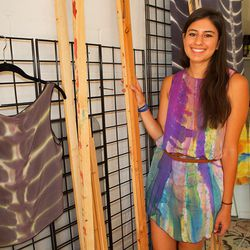 Abel built the frames that she uses to stretch the silk.