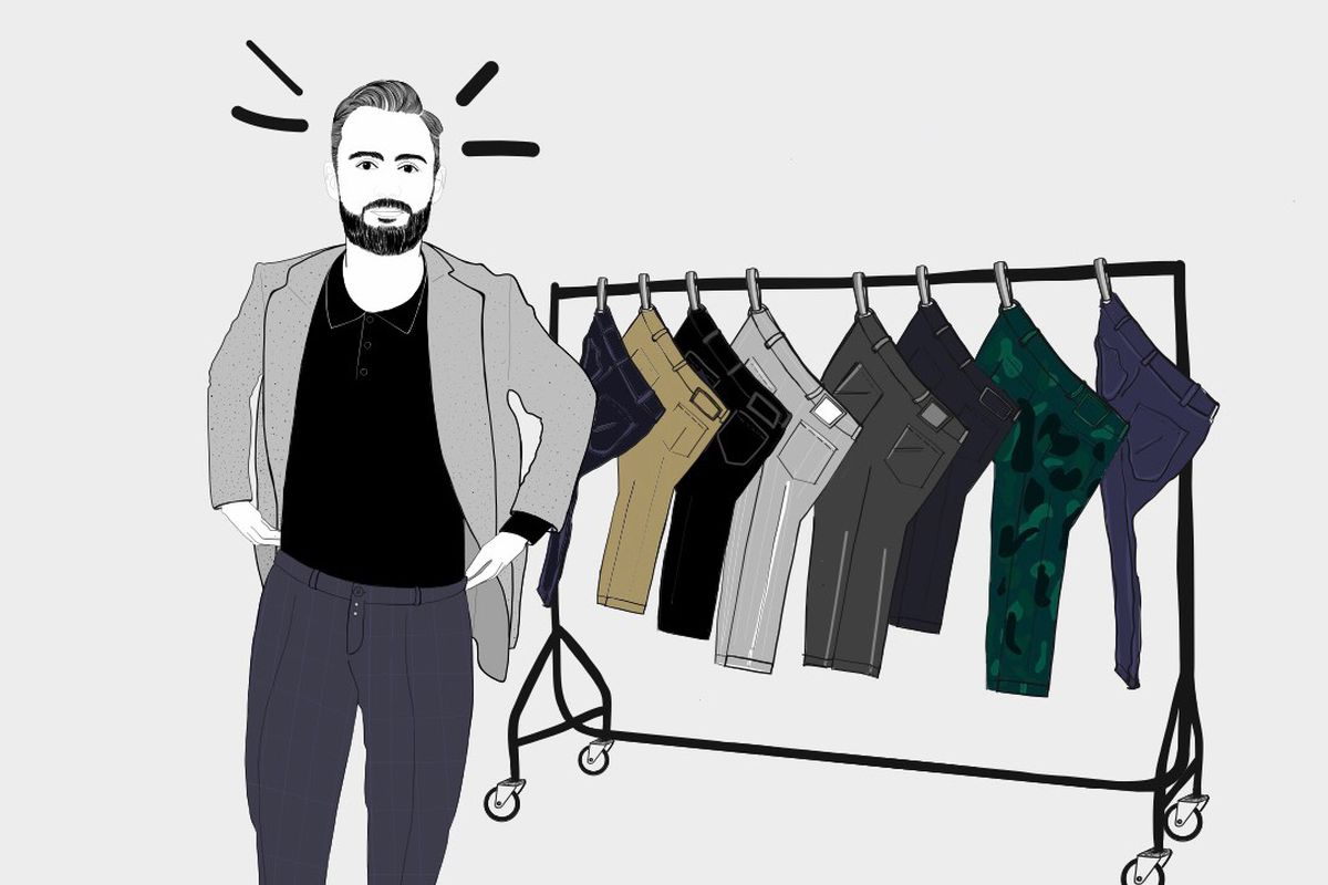 Illustration of Skylar Bergl wearing trousers next to