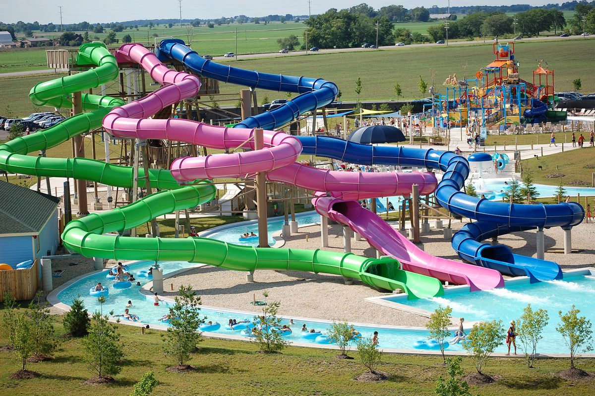 """The """"Three Sisters"""" waterslides are among the attractions at Raging Waves in Yorkville."""