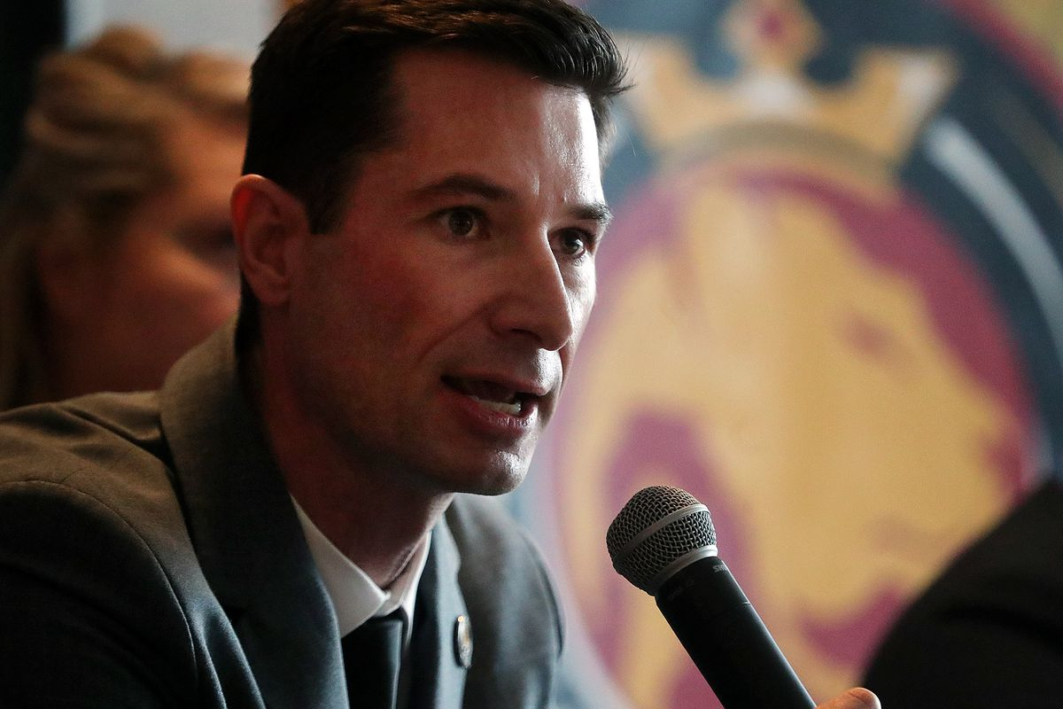 New Utah Royals FC head coach Craig Harrington answers questions from the media at an introductory press conference at Rio Tinto Stadium in Sandy on Friday, Feb. 7, 2020.