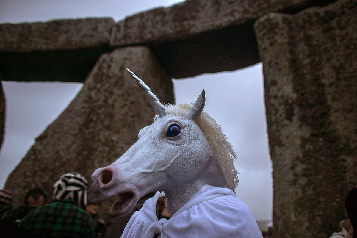 Dunno, a unicorn-mask-at-Stonehenge picture seemed appropriate