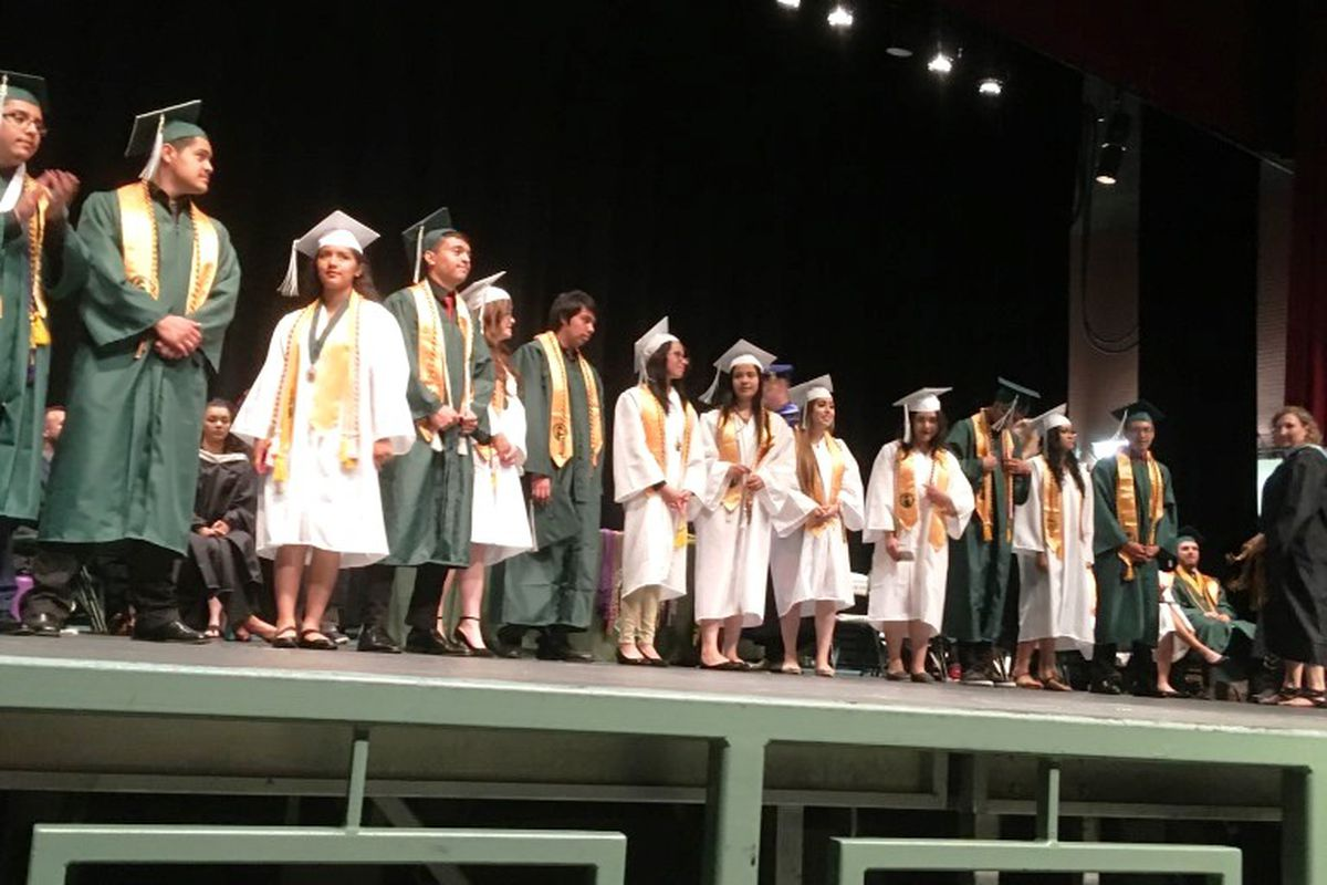 Picture of recipients of the seal of biliteracy at their 2018 graduation from Aurora Central High School. (Photo courtesy of Aurora Public Schools)