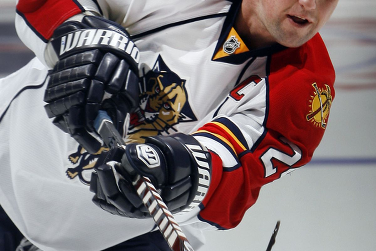 TORONTO ON - OCTOBER 26: Bryan McCabe #24 of the Florida Panthers shoots during warmup before game action at the Air Canada Centre October 26 2010 in Toronto Ontario Canada. (Photo by Abelimages/Getty Images)