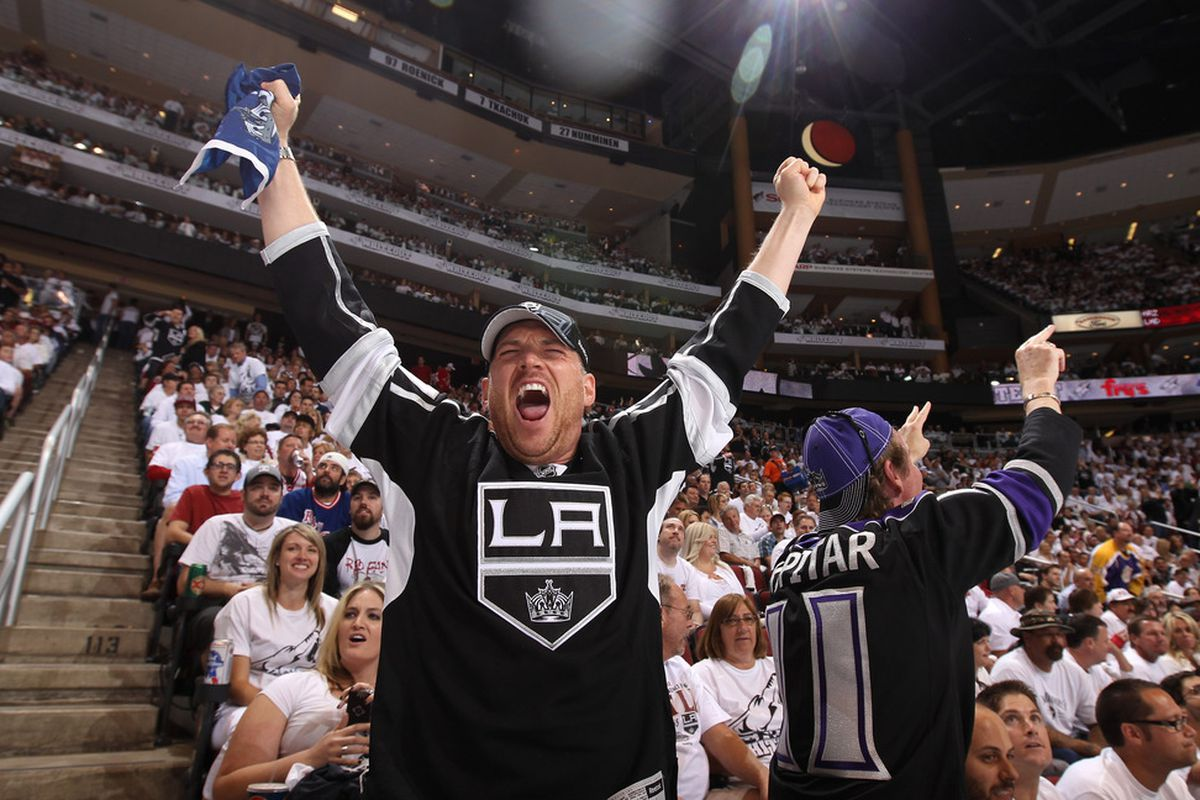 GLENDALE, AZ - MAY 15:  Loved this picture! Los Angeles Kings hockey fan Bobby Williams in enemy territory having a good night. Lets support our boys here at home.  (Photo by Christian Petersen/Getty Images)