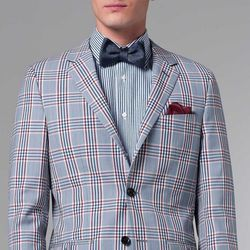 """<a href=""""http://www.indochino.com/product/the-ultimate-premium-plaid-blazer"""">Premium Plaid Blazer</a>, $429; <a href=""""http://www.indochino.com/product/the-ultimate-navy-pinstripe-shirt"""">Navy Pinstripe Shirt</a>, $99;  <a href=""""http://www.indochino.com/pro"""