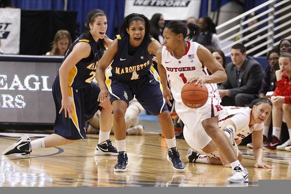 Former Rutgers guard Khadijah Rushdan will be one of a few Los Angeles Sparks perimeter players competing to show that they can help the team make up for its lack of a true distributor. <em>Photo by David Butler II-US PRESSWIRE</em>