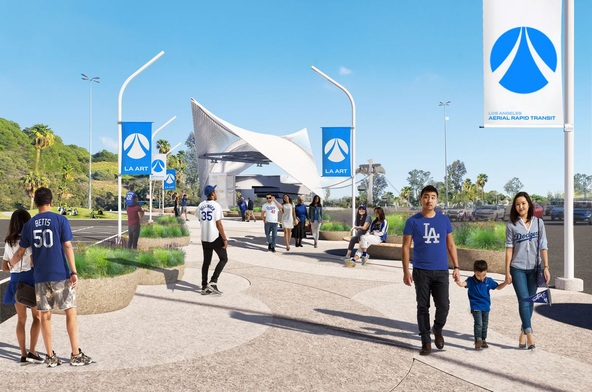 People walk from a futuristic-looking gondola station down a pathway wearing Dodger baseball colors and logos with banners that read Los Angeles Aerial Rapid Transit.