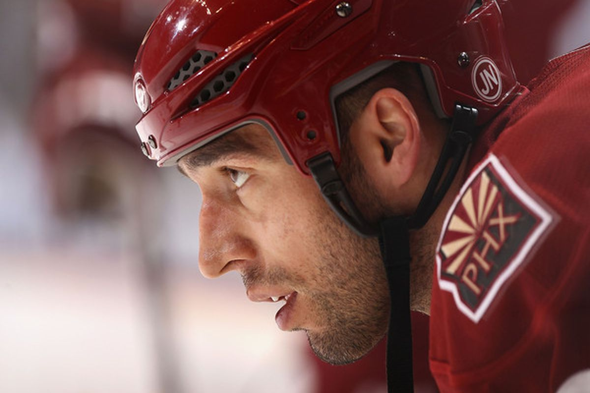 GLENDALE AZ - FEBRUARY 02:  Michal Rozsival #32 of the Phoenix Coyotes warms up before the NHL game against the Vancouver Canucks at Jobing.com Arena on February 2 2011 in Glendale Arizona.  (Photo by Christian Petersen/Getty Images)